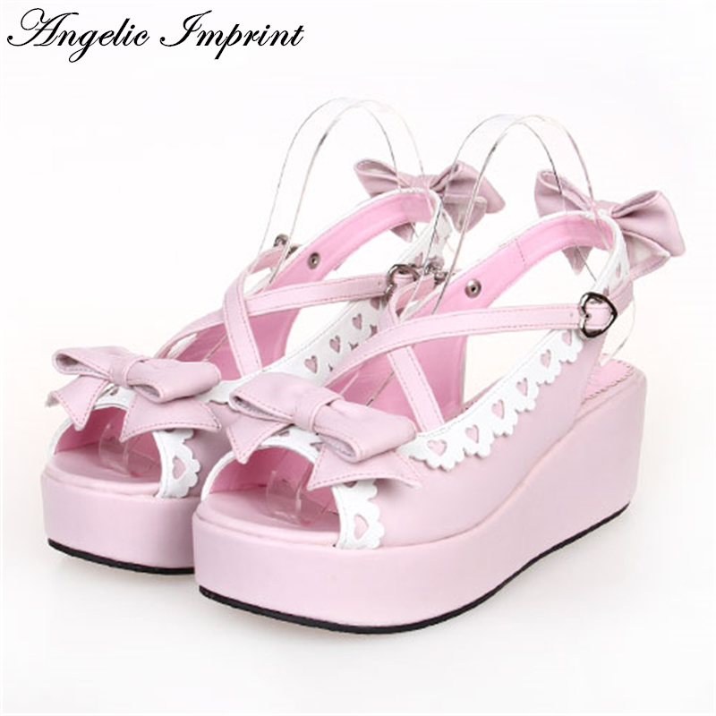 Japanese Sweet Lolita Cosplay Strappy Sandals Lovely Bowknot & Lace Trim Platfrom Wedge Girls Summer Shoes japanese sweet bowtie lace trim criss cross chunky heel lolita princess girl sandals summer shoes