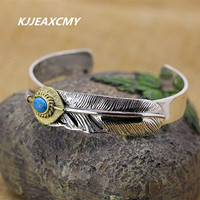 KJJEAXCMY S925 sterling silver jewelry wholesale, ladies retro Turquoise feathers, exquisite aesthetic open Bracelet