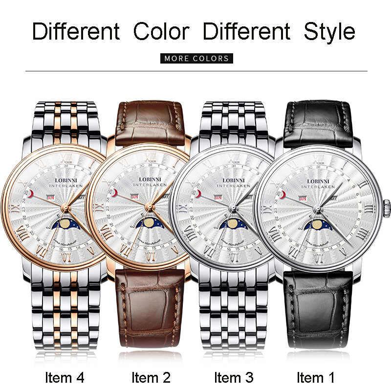 Szwajcaria męski zegarek luksusowej marki LOBINNI zegarek mężczyźni Sapphire wodoodporna faza księżyca reloj hombre Japan Miyota ruch L3603M8