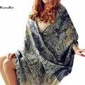 190*70 CM Cobertor Impressão Cachecol Boho Floral Étnico Pashmina Envoltório Cachecol de Inverno Quente Plus Size Mulheres Xales E lenços Bufandas 10