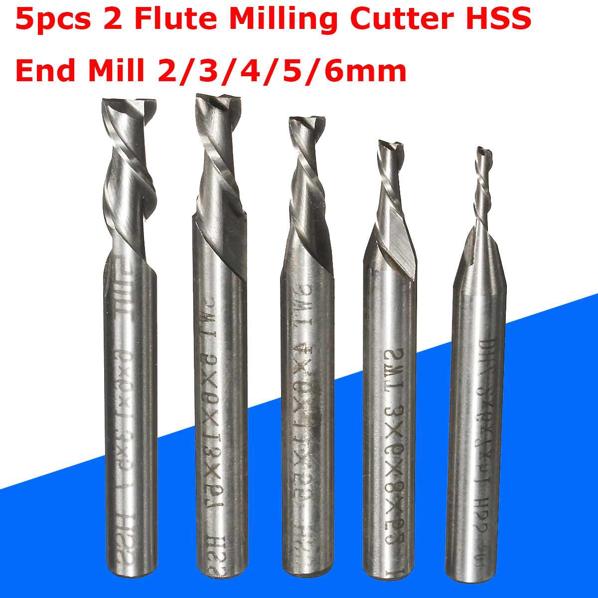 5pcs 2 Flute Milling Cutter HSS End Mill 2/3/4/5/6mm CNC Engraving Bit Straight Shank Drill Bit Tools