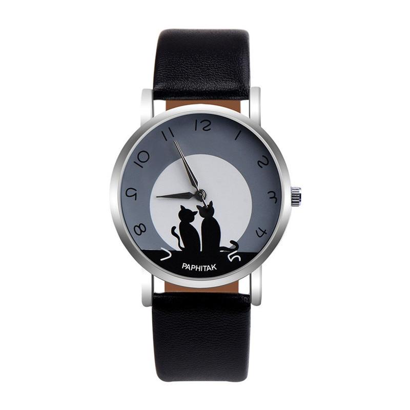 Women's Watches Casual Watches Leather Cute Cat Pattern Leather Watch Women Ladies Quartz Wristwatches Montre Femme #D