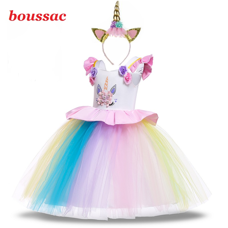 2019 Hot 3-12Y Girls Unicorn Pony Costume With Headband Tutu Dress Girls Cosplay Dress Children Kids Unicorn Princess Dress