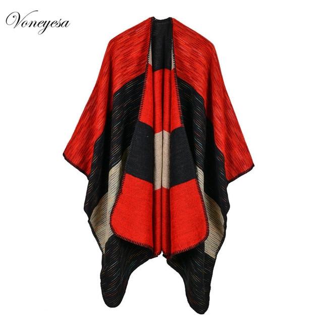5ff542dd5a65bb R$ 131.46  Mulheres Poncho Capa Cobertor de Inverno Das Mulheres Da Forma  Multi função Xale Cachecol Xadrez Extra Grande Tamanho Quente Acrílico ...