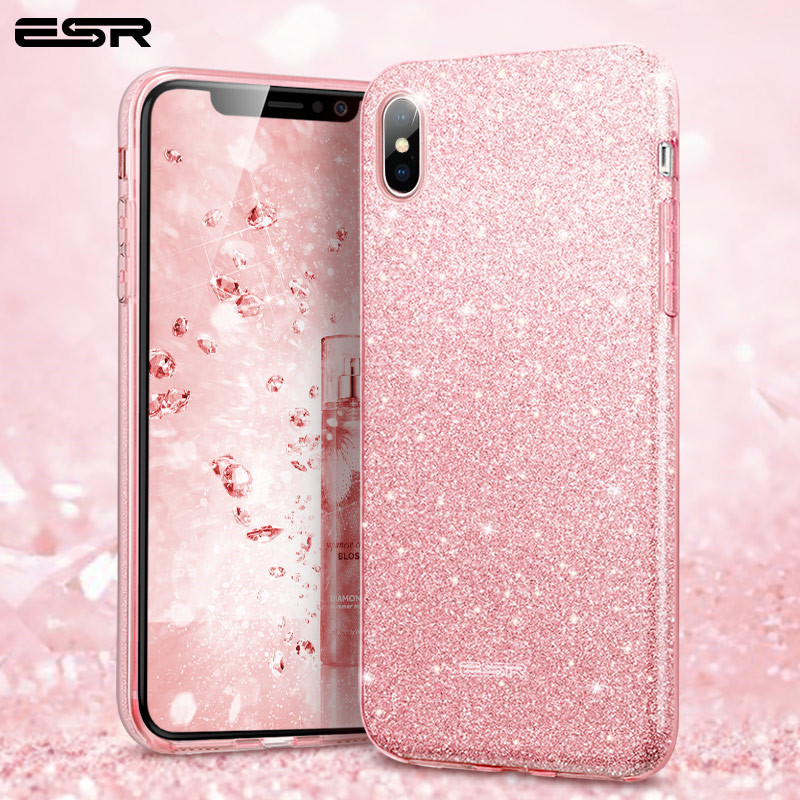reputable site 63e64 b34c6 US $5.01 34% OFF|ESR Case for iPhone X XS XR XS Max Cover Luxury Shinning  Protective Bumper Bling Glitter Soft TPU Coque for iPhone 7 8Plus Funda-in  ...