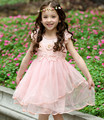Kids Girls Dresses for Party and Wedding 2016 Summer New Princess Girls Lace Dress with Flowers Kids Dance Wear Dress Costumes