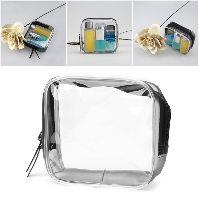Transparent PVC Portable Waterproof Zipper Cosmetic Bag Travel Makeup Organizer