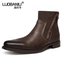 Big Size Men Pointed Toe Chelsea Boots Man Mid calf Martin Boots Real Leather Oxfords Autumn Winter Retro Casual Shoes