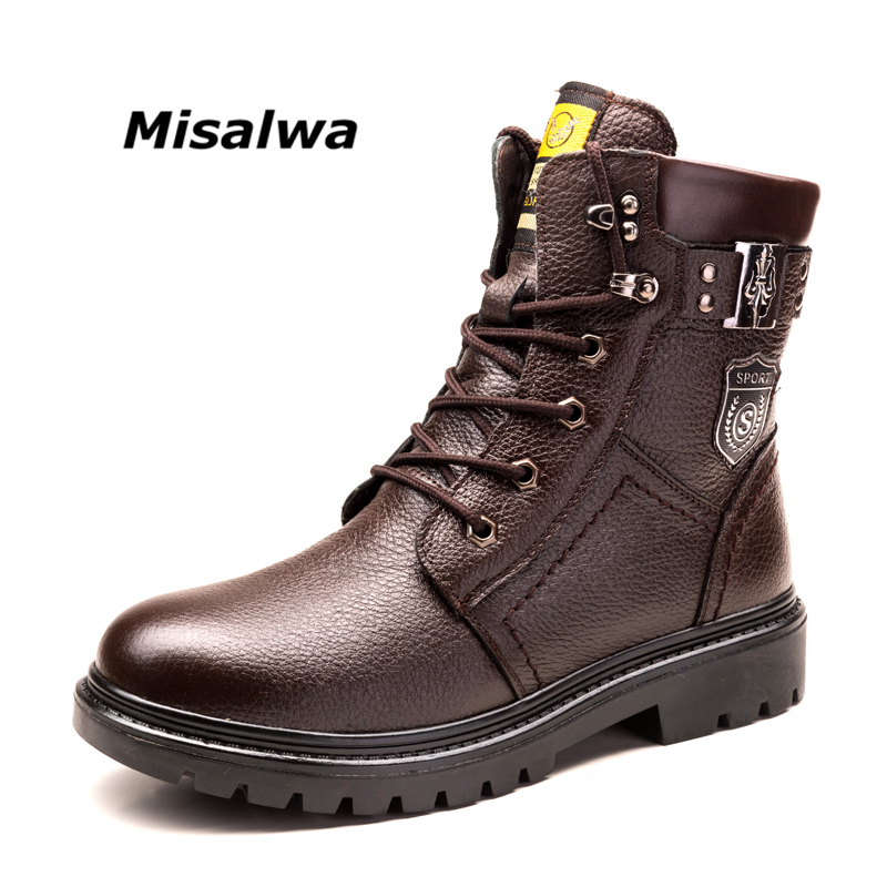 Misalwa Men's Snow Boots Black Brown Genuine Leather Stylish Fashion Warm Plush Wool Winter Motorcycle Boots Lace-up Footwear top 2017 women snow boots wool fur inside lace up nubuck genuine leather fashion brand black brown martin motorcycle shoes