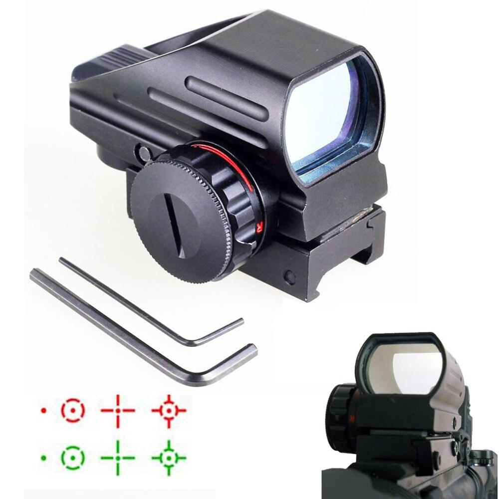 Tactical Reflex rojo/Verde láser 4 Reticle Holographic proyectado Dot Sight alcance Airgun Rifle vista caza Rail Mount 20mm