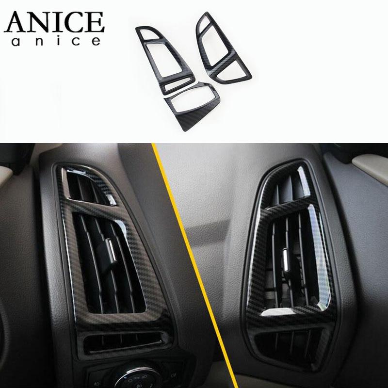For Ford Focus MK3 2012-2014 Carbon Fiber Color ABS Interior Dashboard Air Conditioner Vent Trim 3PCS LHD LEFT HAND SIDE