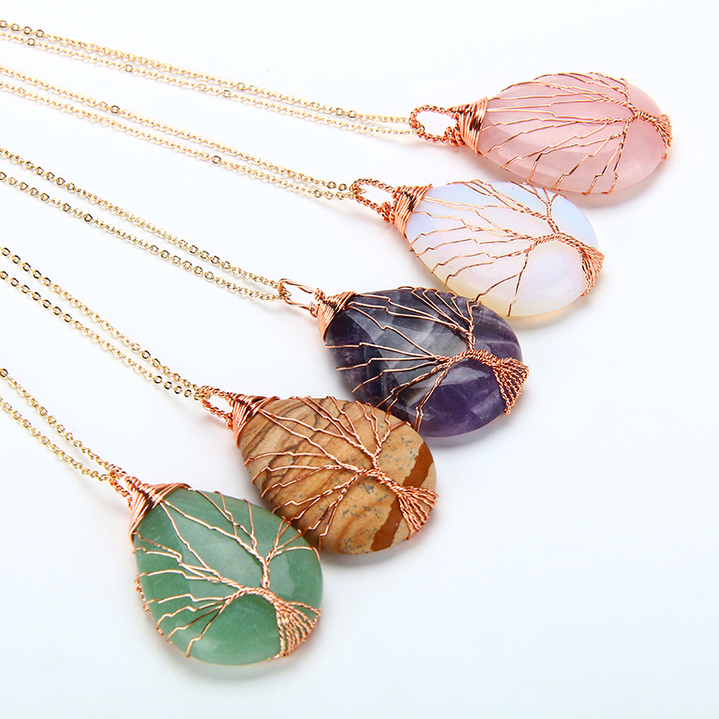 Natural purple Quartz Opal Stone Pendants Handmade Rose Gold Color Tree of Life Wrapped Drop Shaped crystal pendant necklace