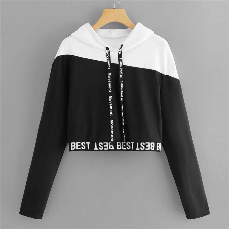 Black & White Letter Tape Color Block Crop Hoodie For Women
