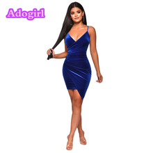 Blue Velvet Midi Dress Backless V-Neck Sheath Irregularity Hemline Royal Ladies Dresses Elegant Night Club Outfits