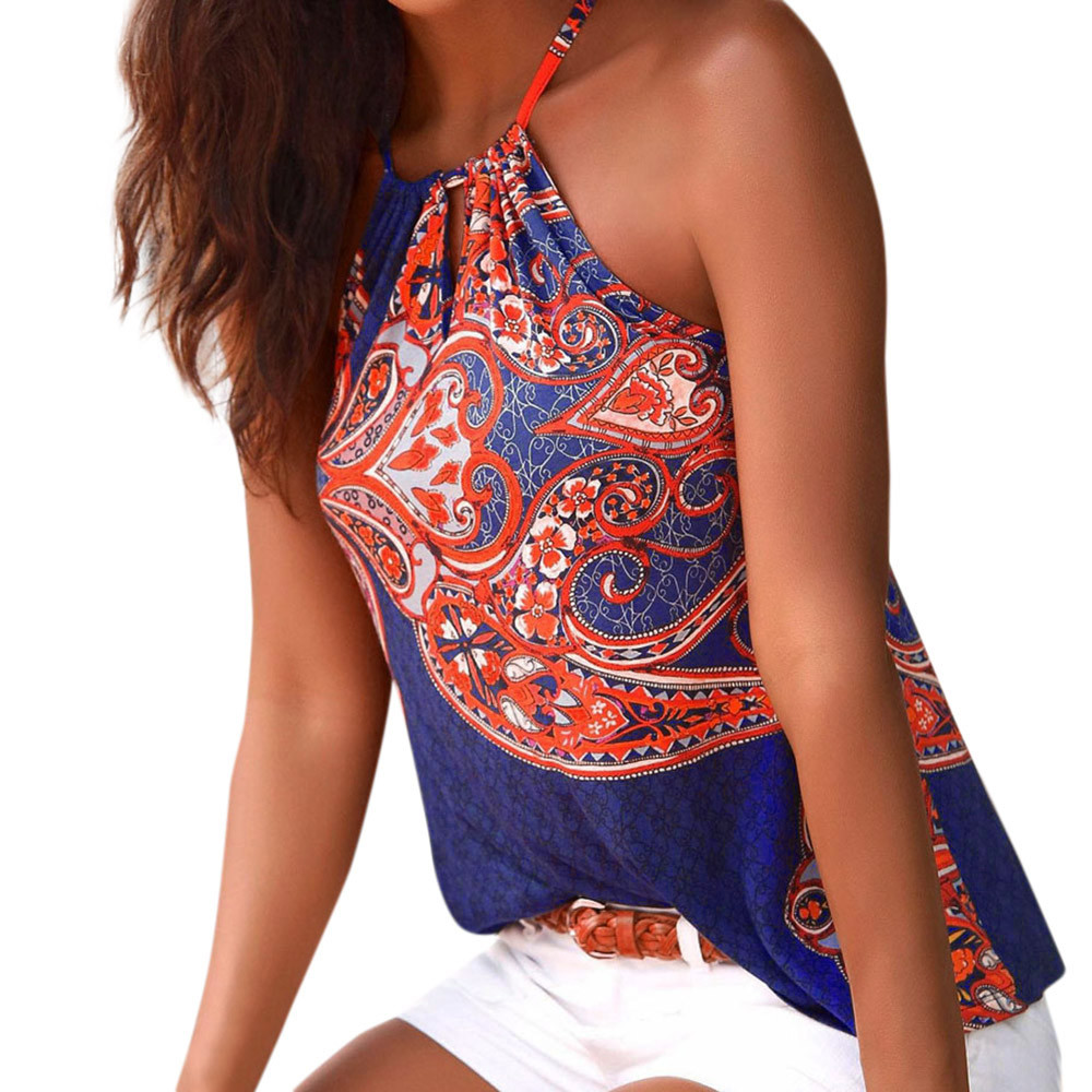 Fashion Summer Womens Floral Strappy Vest Short Sleeveless Shirt Blouse Casual   Tank     Tops   Camis Silk Satin Halter harajuku A25