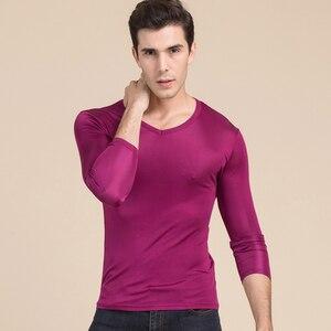 Image 2 - 男性の基本的な tシャツ 100% 天然シルク V ネックソリッドシャツ長袖トップメンズシルクトップ白黒グレー 2018 春夏新作