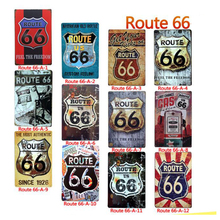 1pc Route 66 Vintage Metal Plate Car Decor Tin Sign Road Poster Shabby Chic Wall Art For Shop Bar Boutique Display 20*30cm