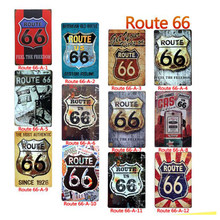 1pc Route 66 Vintage Metal Plate Car Decor Tin Sign Road Metal Poster Shabby Chic Wall Art For Shop Bar Boutique Display 20*30cm(China)
