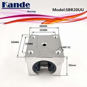 Image 2 - Kande محامل 4 قطعة SBR20UU SBR20 UU SBR20 مفتوحة تحمل كتلة أجزاء التصنيع باستخدام الحاسب الآلي الشريحة ل 20 مللي متر دليل خطي SBR20 20 مللي متر SME20UU SME SBR