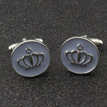 Men Classic France Cufflinks Gray Enamel Crown Luxury Shirts Cuff Button Links Man Bussiness Party Wedding Charm Jewelry Gifts(China)