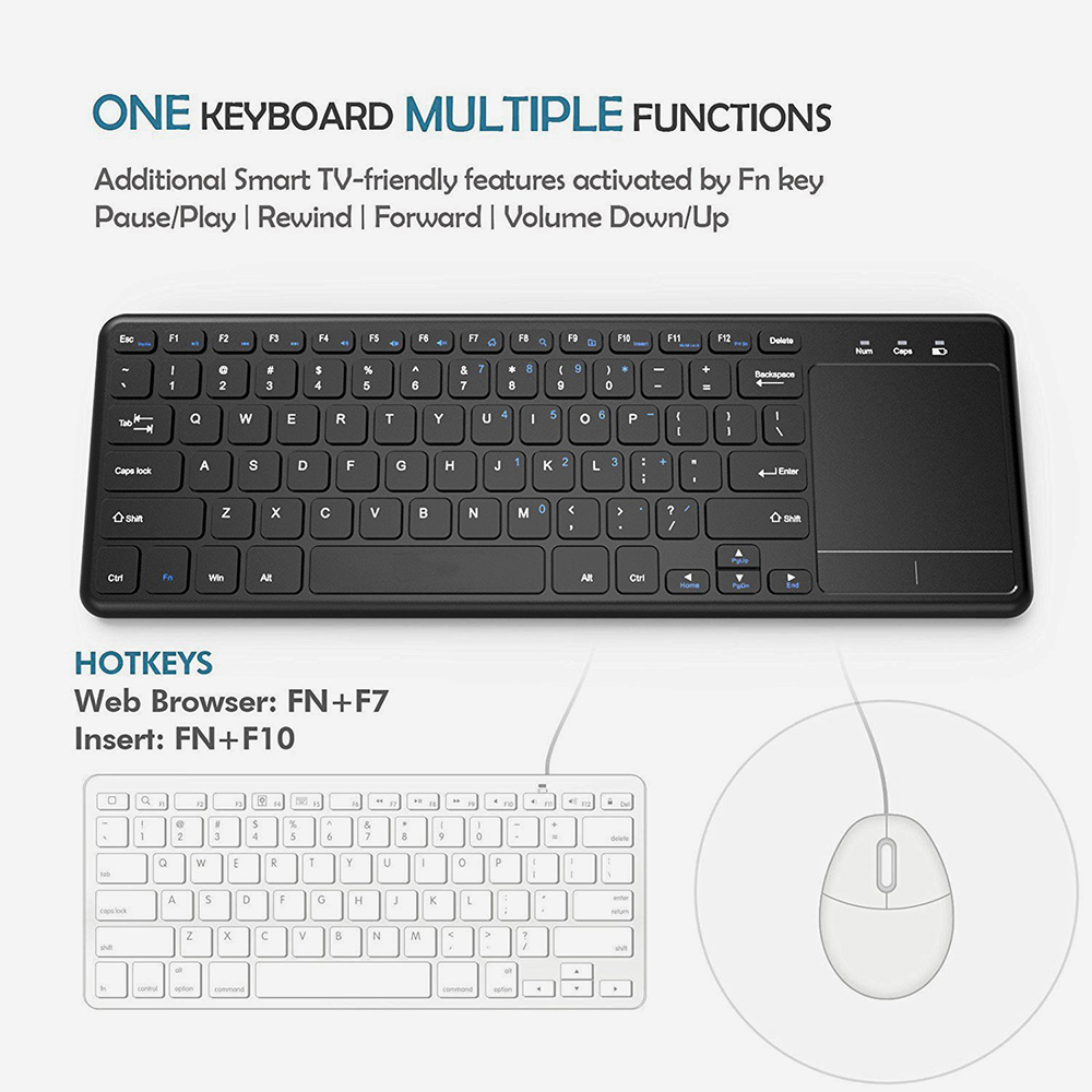 Zienstar 2.4G Multimedia Wireless Keyboard con Touchpad para Windows - Periféricos de la computadora - foto 2