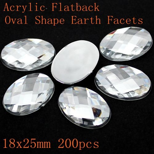 Acrílico Flatback Oval Forma Terra Facetas Muitos Tamanhos Cor Cristal Strass DIY Strass Projeto Da Arte Do Prego Glitter Pedra Decoração