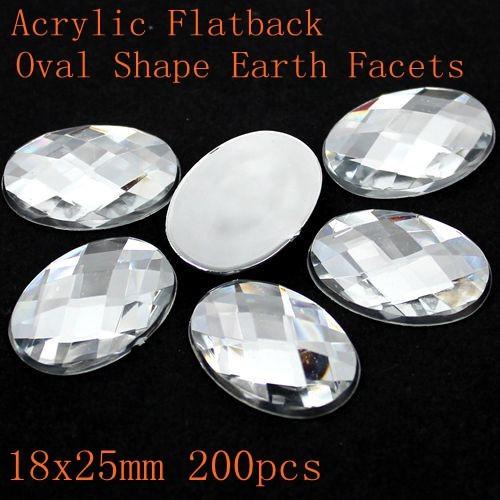Acrílico Flatback Oval Shape Tierra Facetas Muchos Tamaños de Cristal del Color de DIY Rhinestone Strass Nail Art Decoración de Piedra Del Brillo