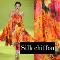 Mulberry Silk Fabric Orange Print Ultra Thin Silk Chiffon Silk Scarf Fabric