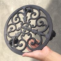 2 Wrought Iron Plant Planter Pot Holder Tray Heavy Mover Trolley Metal with Wheels Flower Pots Balcony Round Garden Floor Rack