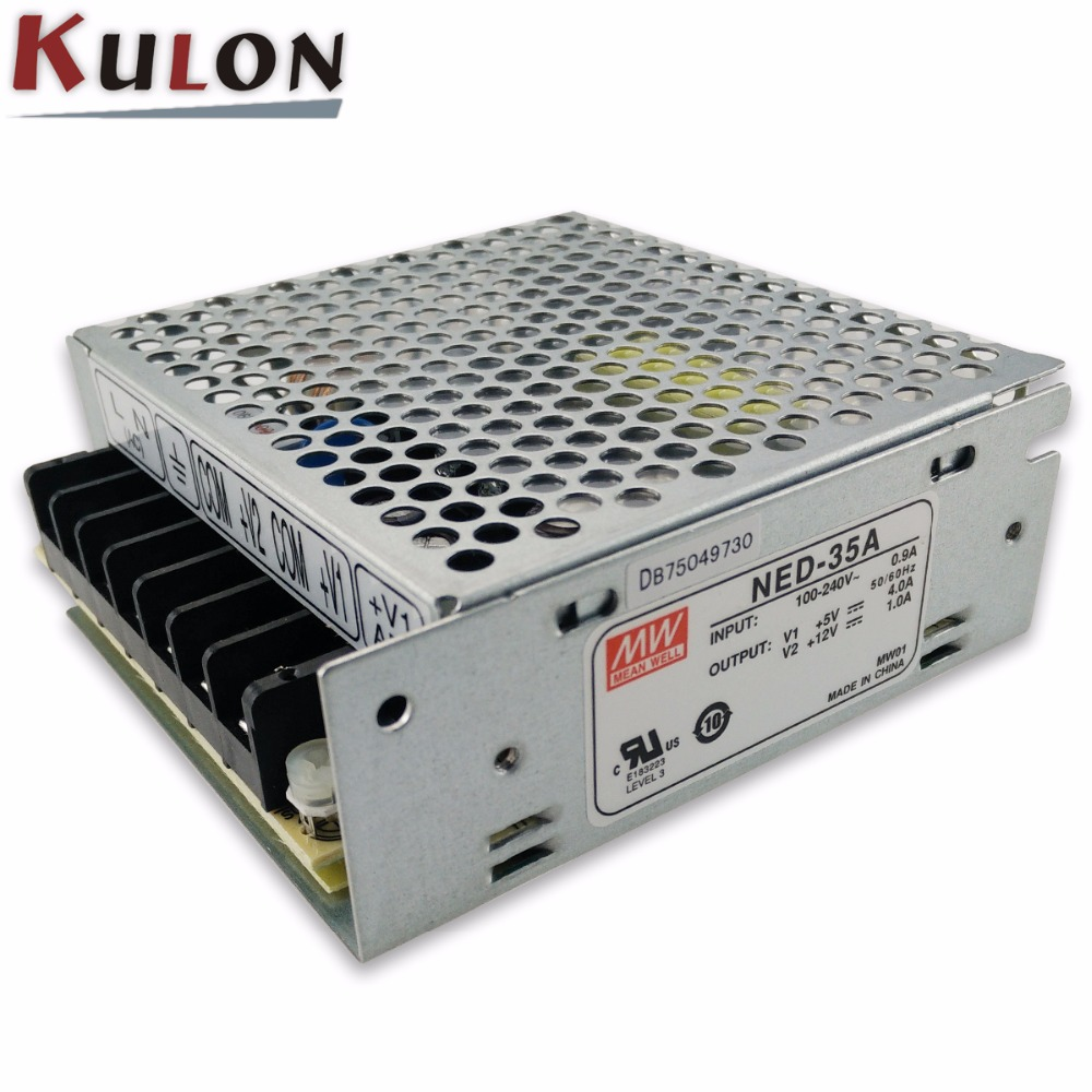 Original Mean well NED-35B 35w Dual output 5V 0.5~4.0A 12V 0.2~1.3A Meanwell power supply Free Shipping original mean well rd 35b 35w 5v 24v dual output meanwell power supply