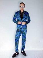 Модная Корейская версия Для мужчин костюмы комплект синий зебры печатных Мужской Блейзер скинни брюки костюм производительность печати Ко