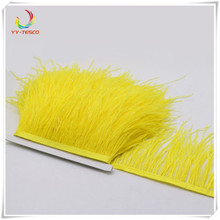 Hot sale 10 yards ostrich feather trims 8-10CM top quality yellow ostrich feather ribbon fringe for skirt Wedding decoration