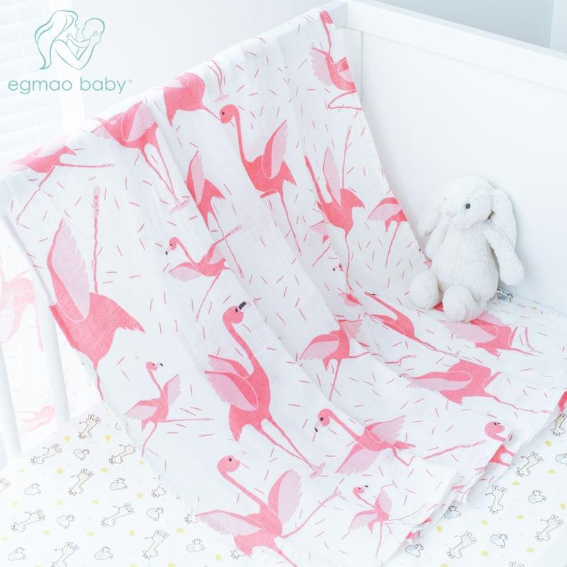 3 Pcs/Lot Flamingo bébé Swaddle 70% bambou 30% coton bébé couverture couches enveloppe pour nouveau-nés Wrap bébé bambou literie draps