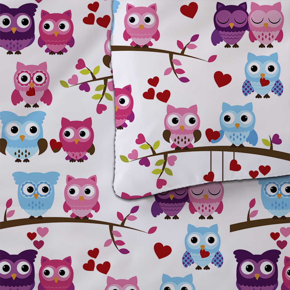 Owls Cartoon Bedding Set Duvet Cover Bedclothes Twin queen king size 3pcs Home Textiles in Bedding Sets from Home Garden