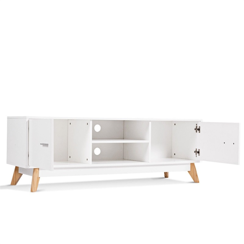 Entertainment Center Console Cabinet <font><b>TV</b></font> Stand with 2 Doors Sturdy MDF Panels Shelving for DVD Players Multiuse Table HW60413 image