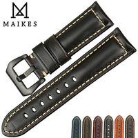 MAIKES Good Quality Italian Leather Watch Strap Black Buckle Classic Watchbands 22 24 26mm Watch Bracelet