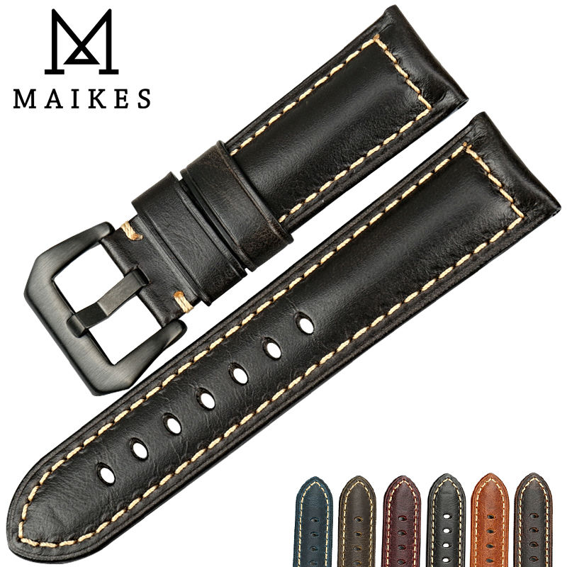 MAIKES Good quality Italian leather watch strap black buckle classic watchbands 22 24 26mm watch bracelet for brand watch band italian visual phrase book