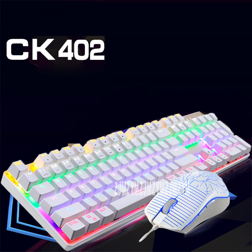 High Quality CK402 2400DPI Mouse Metal keyboard Multimedia Wired Keyboard and Mouse Combo for Office Laptops Desktops PC