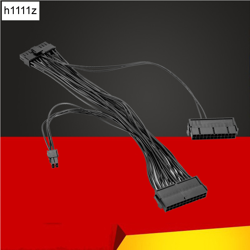 ATX Mining 30cm <font><b>24</b></font> <font><b>Pin</b></font> Dual PSU Power Supply Extension Cable for Computer Adaptor Cable Connector for Miner Mining 24Pin <font><b>20</b></font>+4pin image