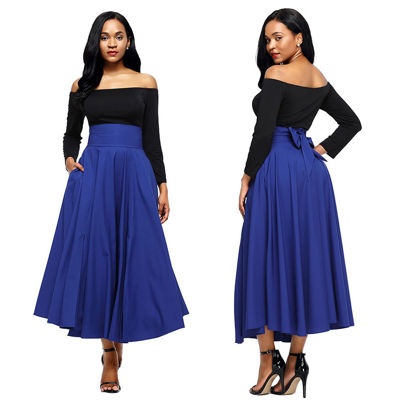 Blue-Retro-High-Waist-Pleated-Belted-Maxi-Skirt-LC65053-5-3