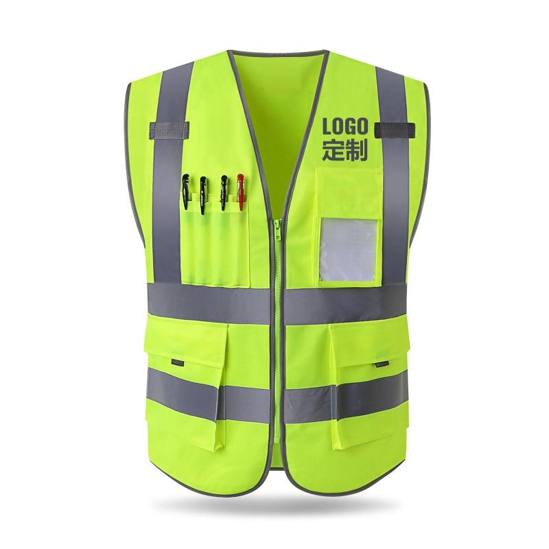 Reflektierende weste bau engineering sicherheit schutz kleidung verkehrs warnung grün auto fluoreszierende mantel