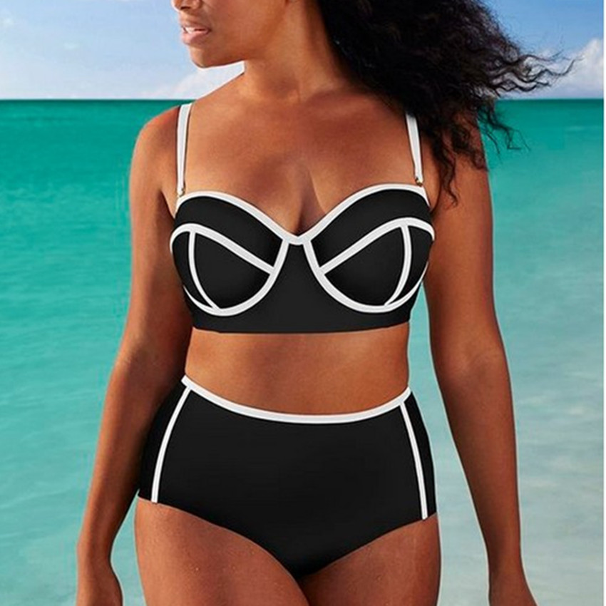 Bikini Black White Underwire Push Up Bikini Set Swimwear Women Plus Size Ball Swimsuit Monokini High Waist Bathing Suits high quality plus size sexy high waist blackless solid women black bikini swimwear underwire big women swimsuit