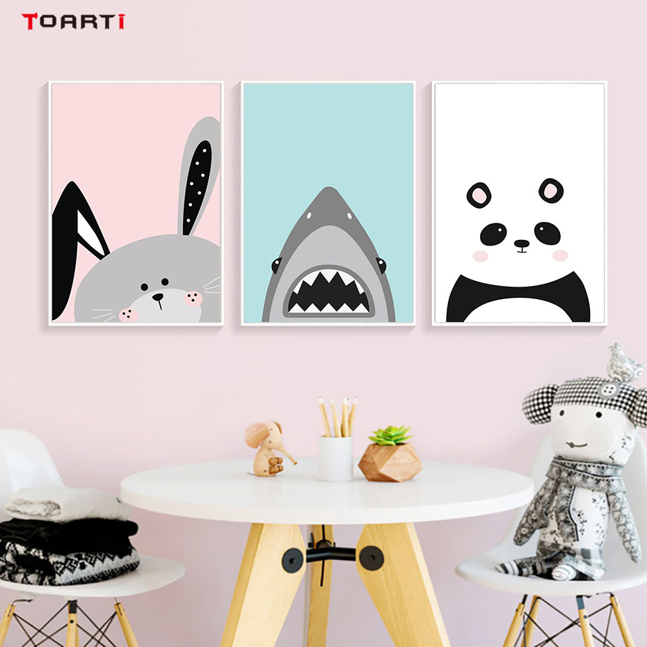 Lovely Cartoon Animals Bear Poster And Print Baby Nursery Room Wall Art Pictures Kids Child Room Canvas Painting Home Decoration