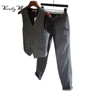 Custom made wedding suits 2 Pieces Men suits Solid Color Grey Tuxedo Prom Suits Slim fit Grooms Wedding Suits(pant+vest)