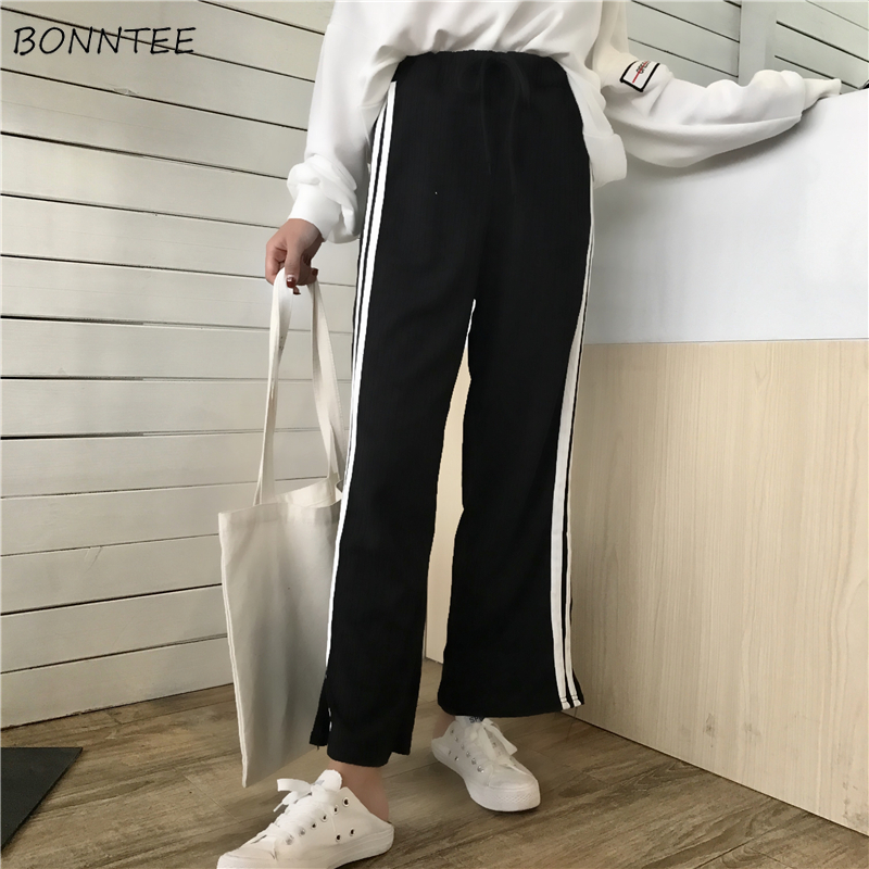 Pants   Women 2019 Spring Summer New Fashion Loose   Wide     Leg     Pant   Womens Korean Style Elastic Waist Drawstring Ankle-length Chic