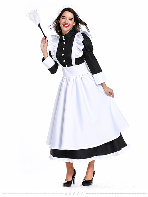 44d17d1d887f7 Vintage British Style Lady Housekeeper Costume White Apron Black Dress  Medieval Maid Dress Cosplay Clothing