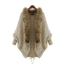 2016 зима открытый кардиган пончо накидки Pull Femme осень женская мода вязаный шерстяной свитер кур Лучший!