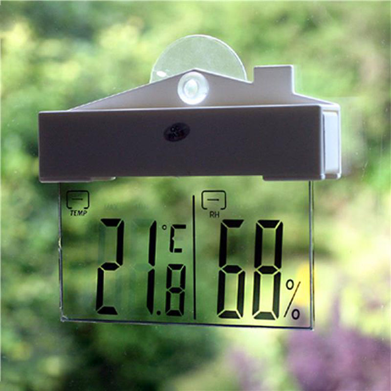 Transparent LCD Digital Window Thermometer Hydrometer Indoor Outdoor Weather Station Test Measure with Suction Cup