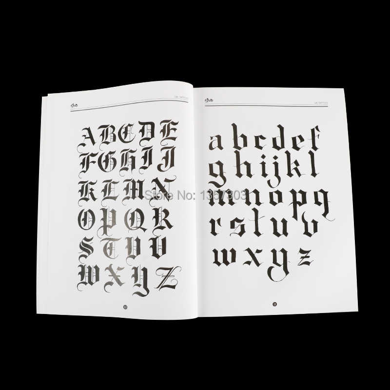 A4 Chicano Calligraphy Font Lettering Tattoo Book Writing Design Pattern Template Design Tattoo Flash Book