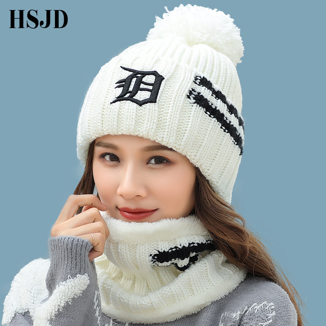 04cac00d032 Winter Women s Hat Scarf Set 2 Pieces Knitted Hats Pompoms Knit Caps For  Girl Casual Fashion Balaclava Skullies Beanies Ski Cap